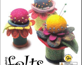 Flower Pincushion Kit with All Materials Colorful Hand Made Felt Components