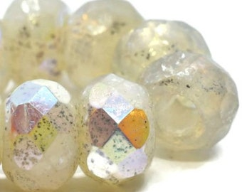 Roller Beads Transparent Glass with AB and Mercury Finish Czech Glass Beads 8mm x 12mm 15 beads