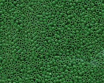 11/0 Miyuki Delica Opaque Kelly Green Glass Seed Beads 7.2 grams DB655