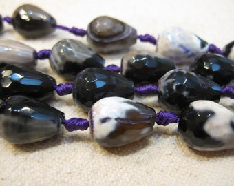Agate FacetedTeardrop Gemstones Dyed Purple and Black 16mm x 12mm