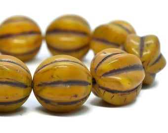 Melon Beads Pumpkin with Brown Wash Czech Pressed Glass Round Corrugated Melon Beads 12mm 15 beads