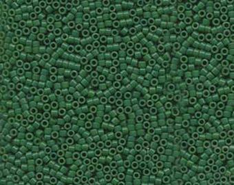 11/0 Miyuki Delica Dyed Opaque Jade Green Glass Seed Beads 7.2 grams DB0656