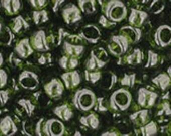 8/0 Transparent Olivine Toho Glass Seed Beads 2.5 inch tube 8 grams TR-08-940