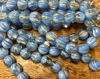 8mm Melon Beads Dark Perwinkle Blue with Gold Czech Pressed Glass Round Corrugated Melon Beads 8mm 20 beads
