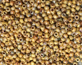 11/0 Brown Picasso Miyuki Glass Seed Beads 6 inch tube 28 grams D4517