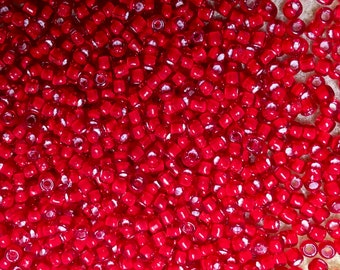 8/0 Red Color Lined White Japanese Glass Rocaille Seed Beads 6 Inch tube 28 grams #327