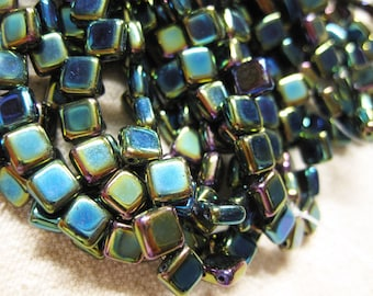 Peacock Blue Czech Mates Two Hole Tile Beads Czech Pressed Glass Square Beads 6mm