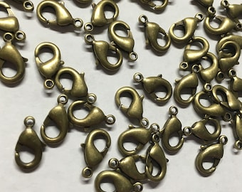 20 Antique Bronze Tone Lobster Claw Parrot Clasps 12mm x 7mm  F271A