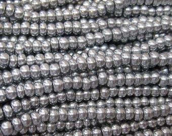 6/0 Bright Silver Preciosa Czech Glass Rocaille Seed Beads 6 String Half Hank 72 grams
