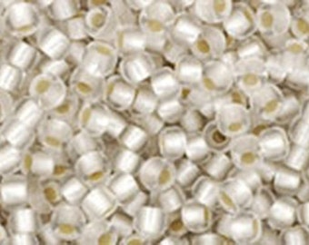 11/0 Silver Lined Frosted Crystal Toho Glass Seed Beads 2.5 inch tube 8 grams TR-11-21F