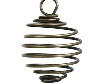Clearance 10 Bead Cage Pendant Charm Antique Bronze Spiral with Loop 26x18mm C411