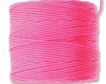 Neon Pink S-Lon #18 Bead Cord Multi Filament Twisted Nylon Cord S-lon 210 One Spool 77 yards