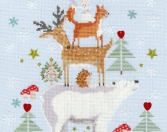 "Snowy Stack from Bothy Threads Cross Stitch Animals Kit All Materials and Instructions Included 8.8"" x 11.2"""