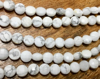 White Howlite Gemstone Beads Faceted Coins 6mm Approx. 29 beads 8 inch Strand
