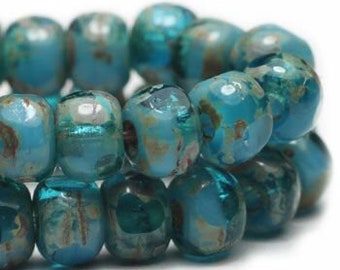 Trica Beads Pacific Blue and Turquoise with Picasso Finish Czech Pressed Glass Rondelles Beads 4x3mm 50 beads