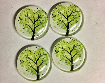 4 Tree Nature Green with Leaves Flat Back Glass Dome Cameo Jewelry Cabochon Pendant 20mm Round 4 pcs