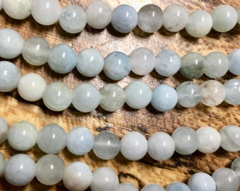 Aquamarine 8mm Smooth Round Gemstone Beads with 2mm Large Hole Approx 24 beads per 8 inch strand