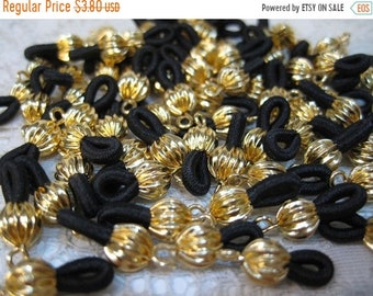 CYBER SALE 12 Gold Plated Eyeglass Chain Holders with Black Elastic Loops Made in the USA F214