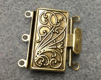 Antique Bronze Tone Brass 3 Strand Box Clasp 23x21mm One Clasp F451C