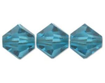 Blue Zircon 5328 Bicone Swarovski Crystal Beads 3mm approx. 48 pcs