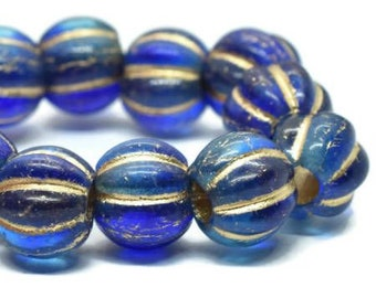 8mm Large Hole Melon Beads Sapphire and Sky Blue with Gold Wash 20 pcs