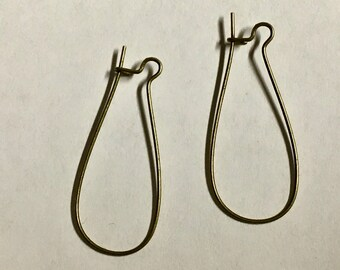 Kidney Hook Long Ear Wires Antique Brass Plated Surgical Steel 30x14mm Made in USA 12 pairs F200