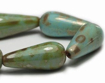 Tea Green Czech Pressed Glass Dangle Drop Teardrop Beads with Picasso Finish 20mm x 9mm 10 beads