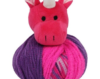 Clearance Unicorn Knitting Hat Kit Pink and Purple Kids Teens Hat Kit Top This by DMC