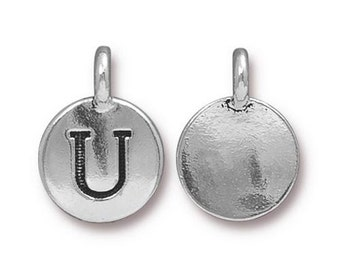 "Letter ""U"" Initial Pendant Tiny Silver Charm TierraCast Antique Silver Alphabet Charms Lead Free Pewter 16.5x11.5mm One Charm F294"