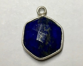 Clearance Lapis Faceted Hexagon Drop Pendant with Silver Plated Bezel 18mm x 14mm with Top Loop One pendant P103