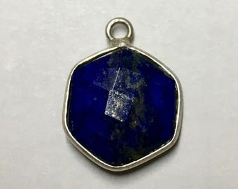 Lapis Faceted Hexagon Drop Pendant with Silver Plated Bezel 18mm x 14mm with Top Loop One pendant P103