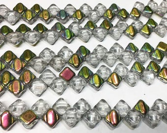 Crystal Vitrail Two Hole Silky Czech Pressed Glass 6mm Two Hole Angled Square Beads 40 pcs