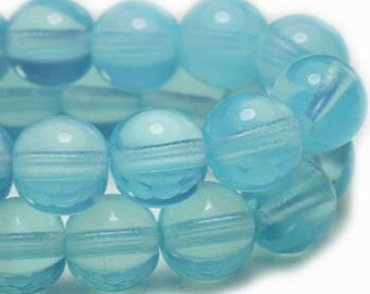 Powder Blue Semi Transparent 6mm Czech Pressed Glass Round Druk Beads 6mm 30 beads