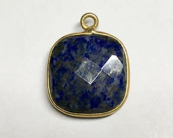 Lapis Faceted Square Drop Pendant with Gold Plated Bezel 20mm x 16mm with Top Loop One pendant P105