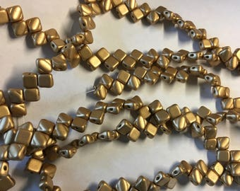 Crystal Bronze Pale Flax Gold Two Hole Silky Czech Pressed Glass 6mm Two Hole Angled Square Beads 40 pcs