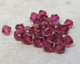 Fuchsia 5328 Bicone Swarovski Crystal Beads 4mm