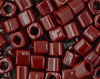 Clearance Opaque Oxblood 3mm Toho Cube Beads 2.5 inch Tube 8 grams TC-03-46