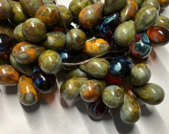 Mix Of Brown Orange Olive with Picasso Finish Czech Pressed Glass Teardrop Beads 6x9mm 25 beads