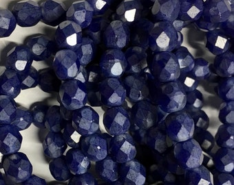 6mm Indigo with Transparent Czech Glass Fire polished Crystal Beads 25 beads