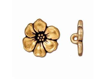 TierraCast 22kt Gold plate with Antiqued Finish Apple Blossom Button 15.75mm x 5mm One button Made in the USA