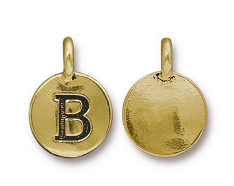 "Letter ""B"" Initial Pendant Tiny Gold Charm TierraCast Antique Gold Alphabet Charms TierraCast Lead Free Pewter 16.5x11.5mm One Charm"