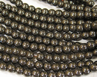 Magnetic Man Made Gunmetal Hemalyke 4mm Gemstone Round Beads 16 inch strand