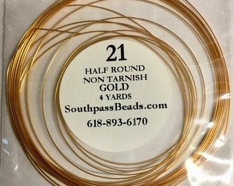 21 gauge Non Tarnish Gold Half Round Craft Wire 4 yards Made in USA