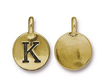 "Letter ""K"" Initial Pendant Tiny Gold Charm TierraCast Antique Gold Alphabet Charms TierraCast Lead Free Pewter 16.5x11.5mm One Charm"