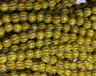 Melon Beads Yellow Gold Czech Pressed Glass Round Beads with Brown Finish 4mm 50 beads