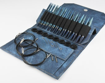 "Lykke 5"" Interchangeable Circular Knitting Needle Set 12 Pairs Needle Tips 5 Cords Accessories Sizes 4 to 17 Indigo Case"