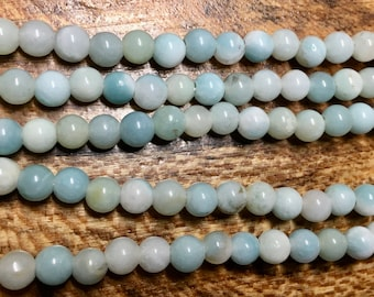 Amazonite Pastel Green Gemstone Smooth Rounds 2mm Large Hole Beads 6mm Approx 32 pcs per 8 inch strand