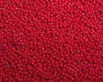 15/0 Red Opaque Japanese Glass Rocaille Seed Beads 6inch tube 28 grams #408
