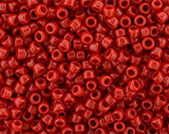 15/0 Opaque Cherry Red Toho Glass Seed Beads 2.5 inch tube 8 grams TR-15-45A