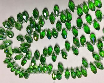 10 Grass Green Faceted Transparent Crystal Briolette Drop Teardrop Beads 6x12mm 10 pcs